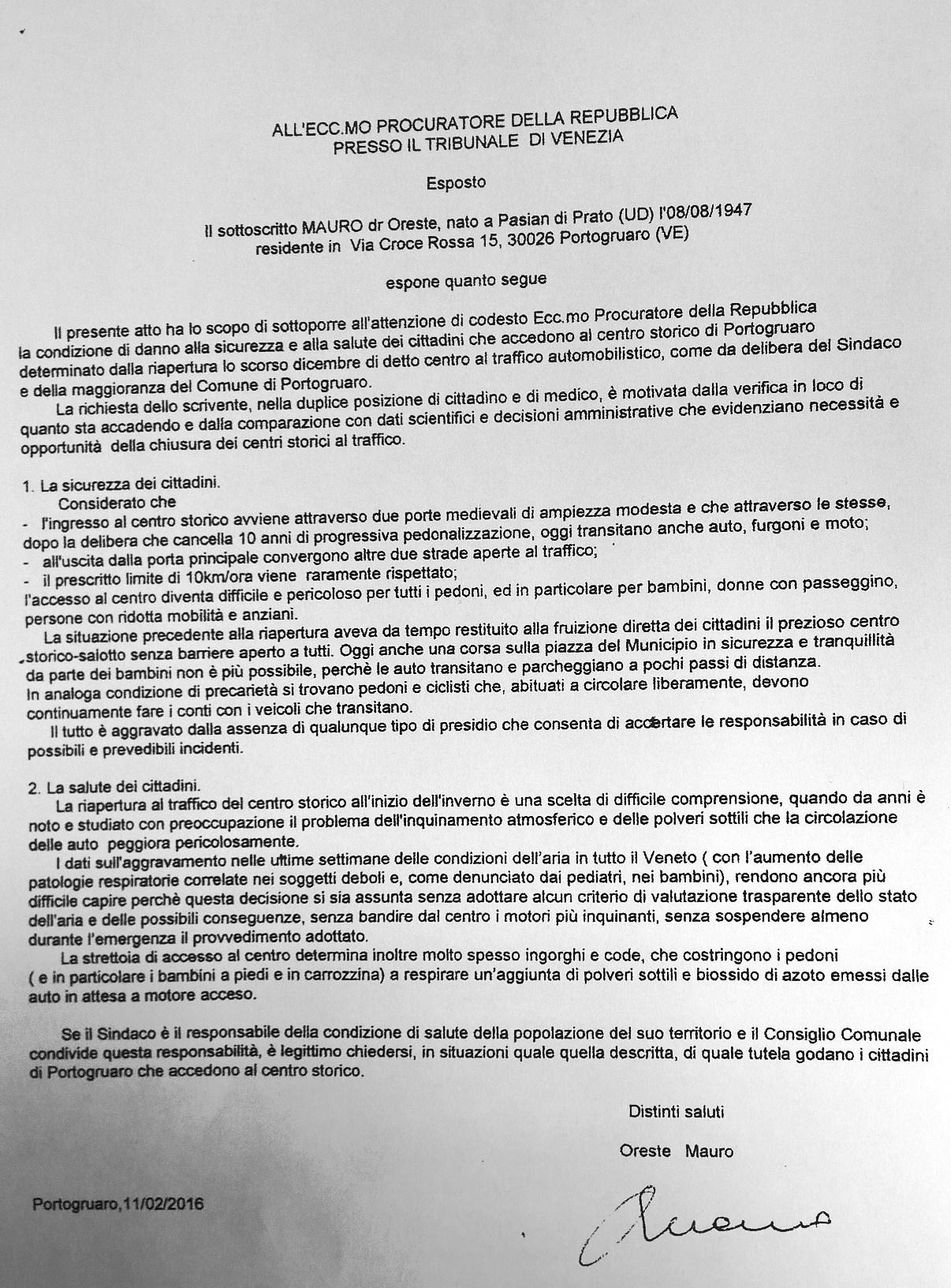 Esposto del dr. Mauro (11 febbraio 2016)